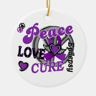 Peace Love Cure 2 Epilepsy Ceramic Ornament