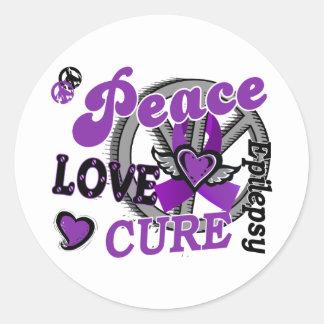 Peace Love Cure 2 Epilepsy Classic Round Sticker