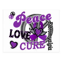 Peace Love Cure 2 Fibromyalgia Postcard