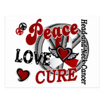 Peace Love Cure 2 Head Neck Cancer Postcard