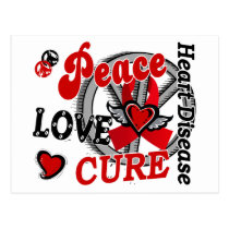 Peace Love Cure 2 Heart Disease Postcard