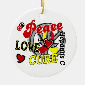 Peace Love Cure 2 Hepatitis C Ceramic Ornament