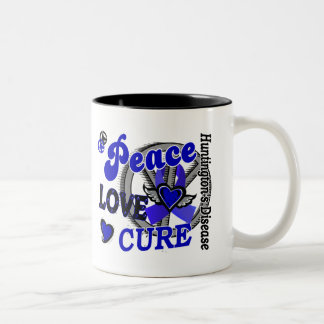 Peace Love Cure 2 Huntington's Disease Coffee Mugs