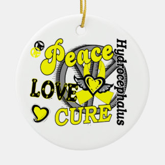 Peace Love Cure 2 Hydrocephalus Double-Sided Ceramic Round Christmas Ornament