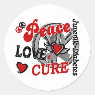 Peace Love Cure 2 Juvenile Diabetes Classic Round Sticker