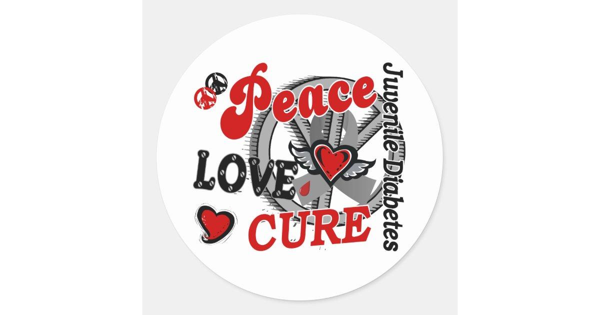 Peace love cure 2 juvenile diabetes classic round sticker for Stickers juveniles