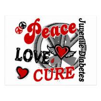 Peace Love Cure 2 Juvenile Diabetes Postcard