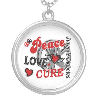 Peace Love Cure 2 Juvenile Diabetes Round Pendant Necklace