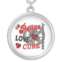 Peace Love Cure 2 Juvenile Diabetes Silver Plated Necklace