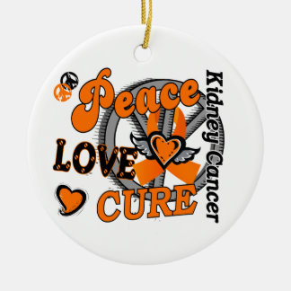 Peace Love Cure 2 Kidney Cancer Double-Sided Ceramic Round Christmas Ornament