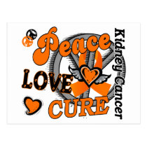 Peace Love Cure 2 Kidney Cancer Postcard