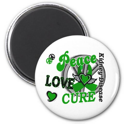 Peace Love Cure 2 Kidney Disease Magnets