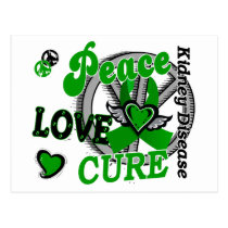 Peace Love Cure 2 Kidney Disease Postcard