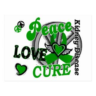 Peace Love Cure 2 Kidney Disease Postcard