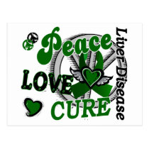 Peace Love Cure 2 Liver Disease Postcard