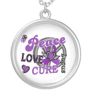Peace Love Cure 2 Lupus Round Pendant Necklace