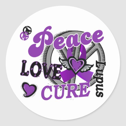 Peace Love Cure 2 Lupus Round Stickers