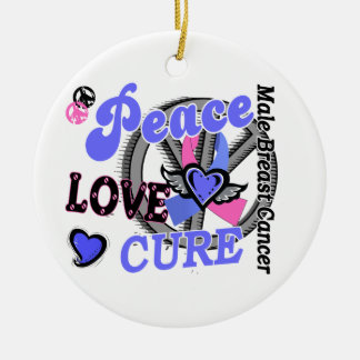 Peace Love Cure 2 Male Breast Cancer Ornaments