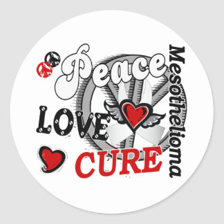 Peace Love Cure 2 Mesothelioma Classic Round Sticker