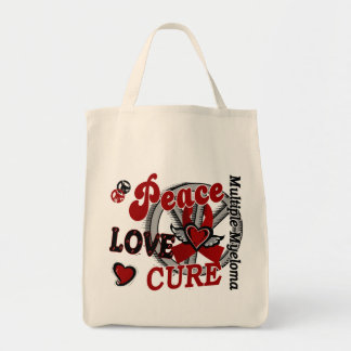 Peace Love Cure 2 Multiple Myeloma Grocery Tote Bag