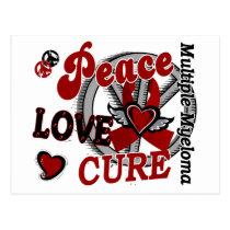 Peace Love Cure 2 Multiple Myeloma Postcard