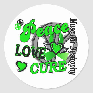 Peace Love Cure 2 Muscular Dystrophy Round Stickers
