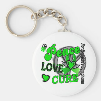 Peace Love Cure 2 Non-Hodgkin's Lymphoma Basic Round Button Keychain