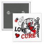 Peace Love Cure 2 Oral Cancer 2 Inch Square Button