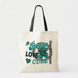 Peace Love Cure 2 Ovarian Cancer Budget Tote Bag