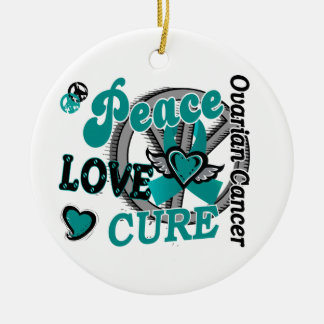 Peace Love Cure 2 Ovarian Cancer Ceramic Ornament