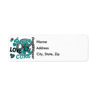 Peace Love Cure 2 Ovarian Cancer Custom Return Address Label