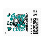 Peace Love Cure 2 Ovarian Cancer Postage