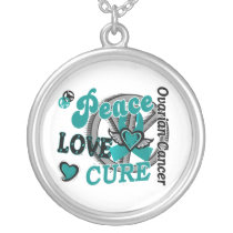 Peace Love Cure 2 Ovarian Cancer Silver Plated Necklace