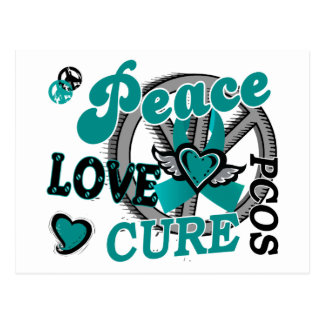 Peace Love Cure 2 PCOS Polycystic Ovarian Syndrome Postcard