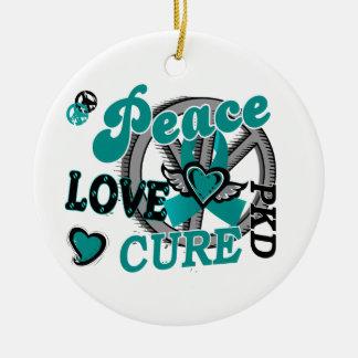 Peace Love Cure 2 PKD Polycystic Kidney Disease Ceramic Ornament
