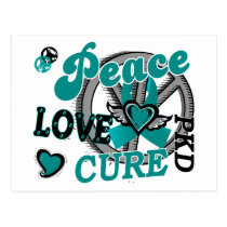 Peace Love Cure 2 PKD Polycystic Kidney Disease Postcard
