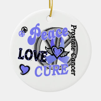 Peace Love Cure 2 Prostate Cancer Double-Sided Ceramic Round Christmas Ornament