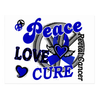 Peace Love Cure 2 Rectal Cancer / Anal Cancer Postcard
