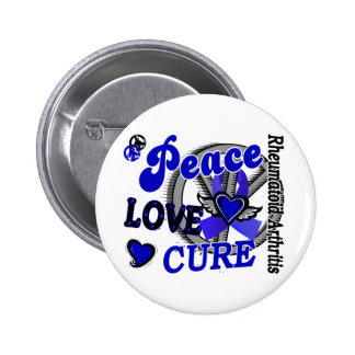 Peace Love Cure 2 Rheumatoid Arthritis Pinback Button