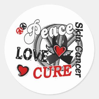 Peace Love Cure 2 Skin Cancer Classic Round Sticker