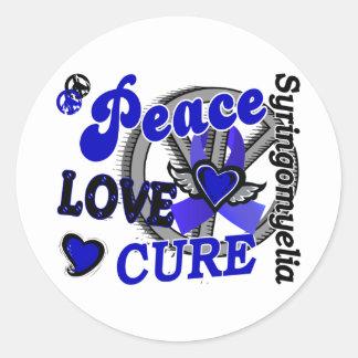 Peace Love Cure 2 Syringomyelia Classic Round Sticker