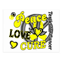 Peace Love Cure 2 Testicular Cancer Postcard