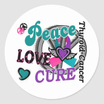 Peace Love Cure 2 Thyroid Cancer Classic Round Sticker