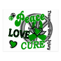 Peace Love Cure 2 Traumatic Brain Injury TBI Postcard