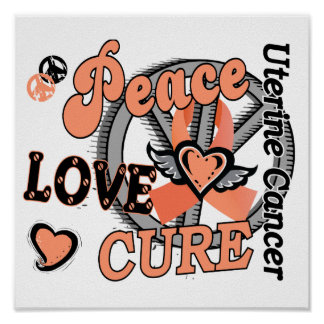 Peace Love Cure 2 Uterine Cancer Poster