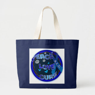 Peace Love Cure ADRENOLEUKODYSTROPHY Large Tote Bag