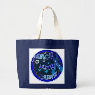 Peace Love Cure ADRENOLEUKODYSTROPHY Large Tote Bag