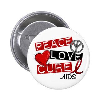 Peace, Love, Cure AIDS Buttons