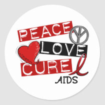 Peace, Love, Cure AIDS Classic Round Sticker