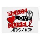 Peace Love Cure AIDS HIV Card